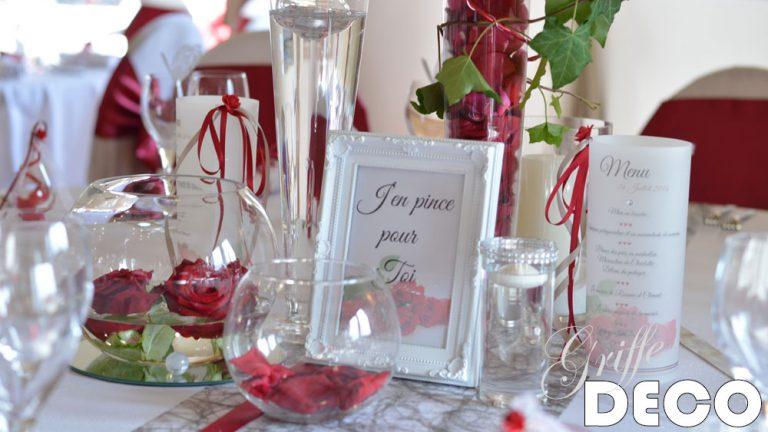decoration mariage rouge bordeau par griffe deco