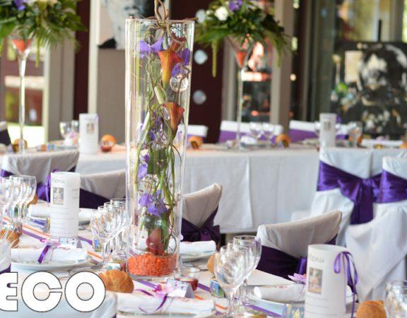 decoration mariage violet orange par griffe deco lorraine