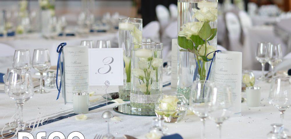 décoration mariage argent et bleu marine